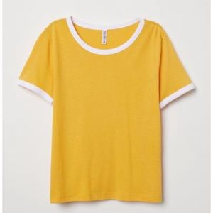 H&M Short Soft Jersey Tee In Yellow